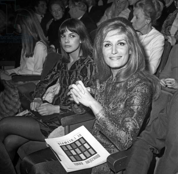 Singers Chantal Goya and Dalida at Premiere of Sylvievartan at The Olympia in Paris on December 4, 1968 (b/w photo)