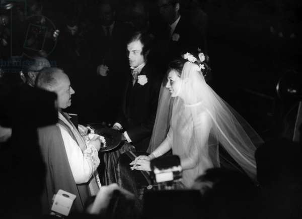 Mike Marshall (Son Of Michelemorgan) And His Young Wife Catherine Prou At L'Eglise Saint Honore D'Eylau, Place Victorhugo In Paris During Their Wedding On April 26, 1966 (b/w photo)