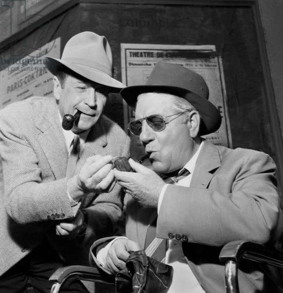 Jean Gabin in The Role of Commissaire Maigret on The Set in 1957 Receiving A Visit By The Author of The Book Series Georges Simenon (b/w photo)