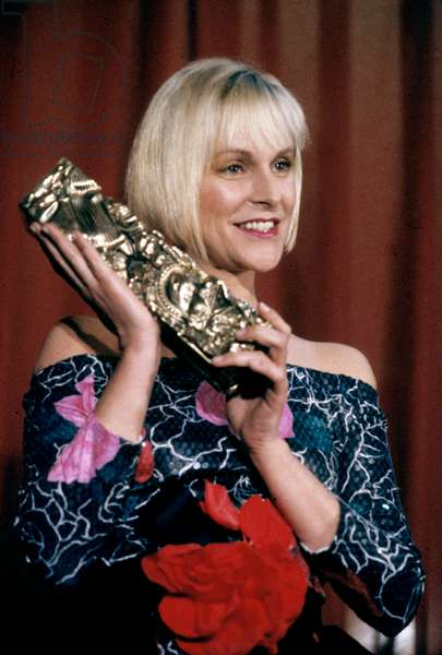 Anne Marie Philipe With The French Movie Prize For her Dead Husband Gerard Philipe, 1990 (photo)