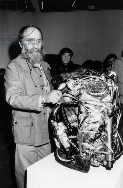 Sculptor Cesar at Opening of Exhibition in Modern Art Museum in Paris November 26, 1976
