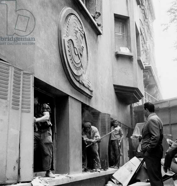 Repatriates From Algeria : Workers Destroying Groundfloor of Building on The Orders of Architect Mr Getter (R) To Avoid That Squatters Live in August 10, 1962 After The War in Algeria (b/w photo)