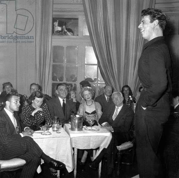 Singer Yves Montand on Stage, on Front Row Among The Audience Are Clark Gable and Mrs G Brierc July 20, 1949 (b/w photo)