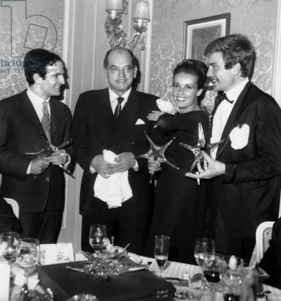 Francois Truffaut, Luis Bunuel, Jeanne Moreau and Albert Finney at Giving of Cinema Crystal Star on December 18, 1962 (b/w photo)