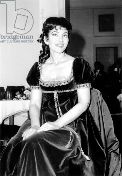 Soprano Maria Callas in her Dressing Room at Garnier Opera House in Paris After Performing in Tosca February 20, 1965 (b/w photo)