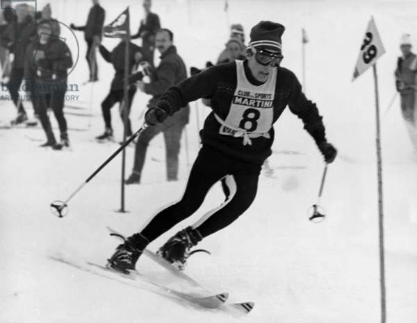 French Skier Jean Claude Killy at Special Slalom in Val D'Isere (Alps, France) on December 18, 1965  Le Skieur Francais Jean-Claude Killy (Dossard 8) Au Slalom Special Hommes De Val D'Isere (Alpes) Le 18 Decembre 1965 Neg:Cx1275  French Skier Jean Claude Killy at Special Slalom in Al D'Isere (Alps, France) on December 18, 1965 (b/w photo)