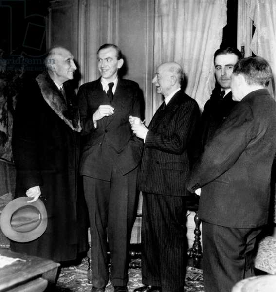 Francois Mauriac, Graham Greene, Jean Schlumberger, John Greene, Gabriel Marcel during Literary Prizegriving Ceremony December 1946 (b/w photo)