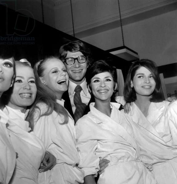 French Fashion Designer Yves Saint Laurent With Models After Showing of The Autumn-Winter Collection August 4, 1966 (b/w photo)