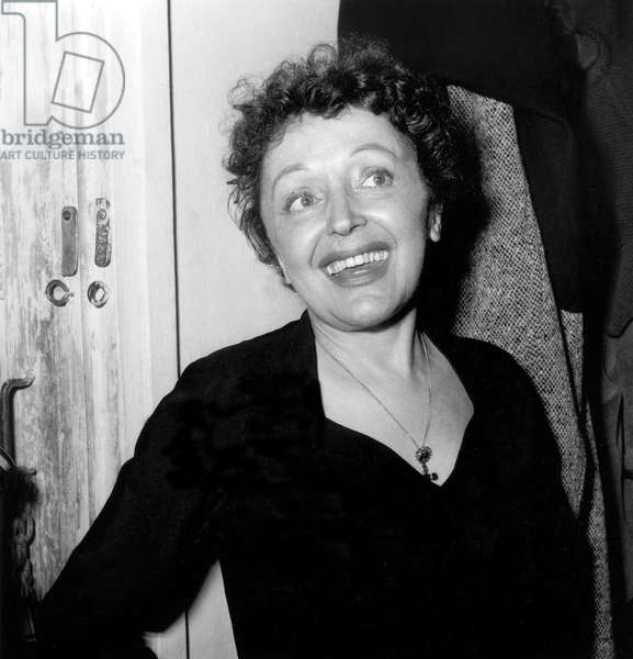 Edith Piaf After her Concert in Melun on November 21, 1959 (b/w photo)