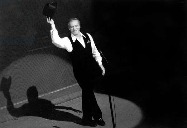 Yves Montand on Stage at Olympia, Paris, October 14, 1981 (b/w photo)