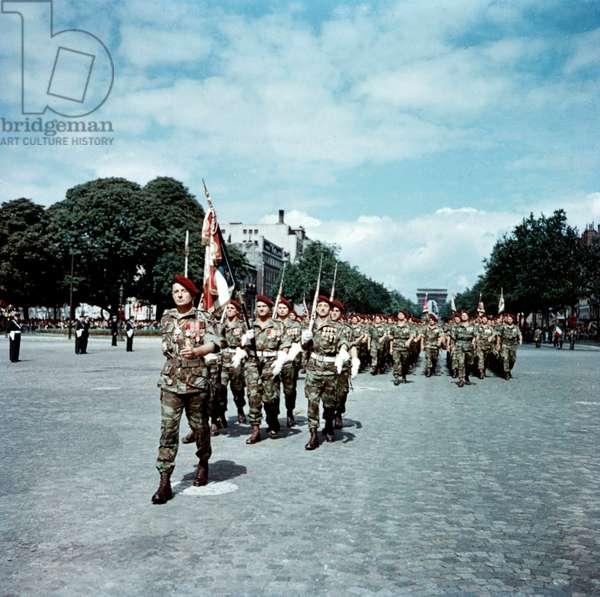 French General Marcel Bigeard during Parade on The Champs Elysees, Paris, July 14, 1956 (photo)