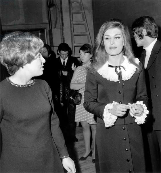 Singers Georgette Lemaire and Dalida After Concert November 17, 1967 (b/w photo)
