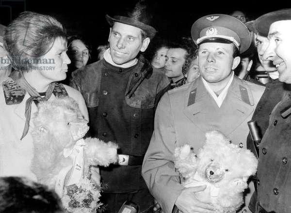 Valentina Tereshkova, First Cosmonaut Woman, With Yuri Gagarine and Walter Ulbricht during Visit in West Berlin October 1963 (b/w photo)