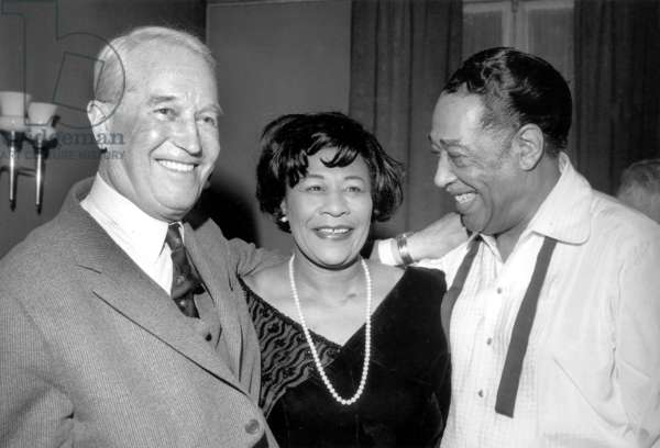 Duke Ellington and Ella Fitzgerald Congratulated By Maurice Chevalier After Concert in Paris January 30, 1966 (b/w photo)