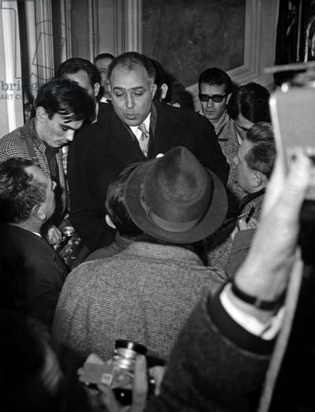Morocco Ambassador In Paris Mohammed Cherkaoui After Receiding All Details Of The Murder Of The Moroccan Consul In Paris Benerrabi-Thamis Here Responding To Journalists March 9, 1964 (b/w photo)