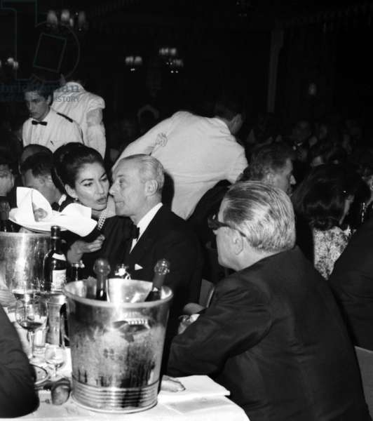 Soprano Maria Callas For her Birthday at The Lido in Paris With Guy De Rotschild and Aristote Onassis on December 2, 1964 (b/w photo)