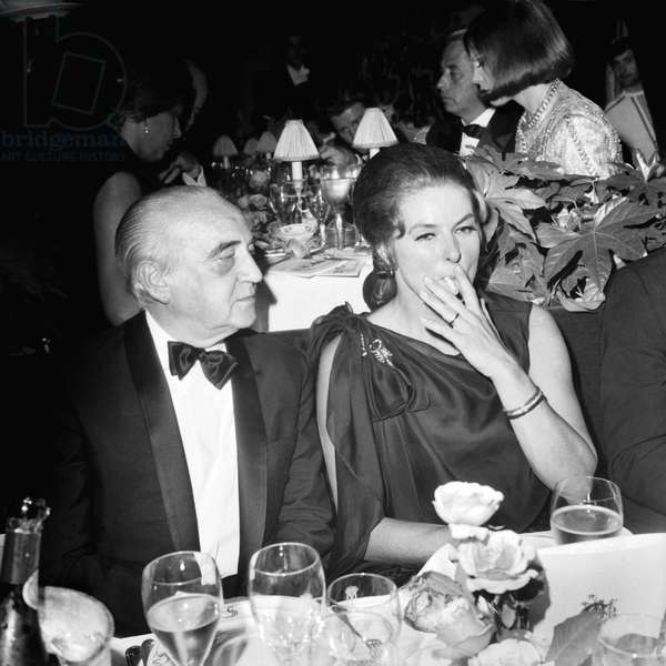 Herve Alphand and Ingrid Bergman at The 75Th Birthday of Maxim'S Restaurant in Paris October 19, 1968 (b/w photo)