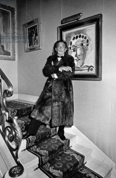 Salvador Dali in Wally Findlay Gallery, 1978 (b/w photo)
