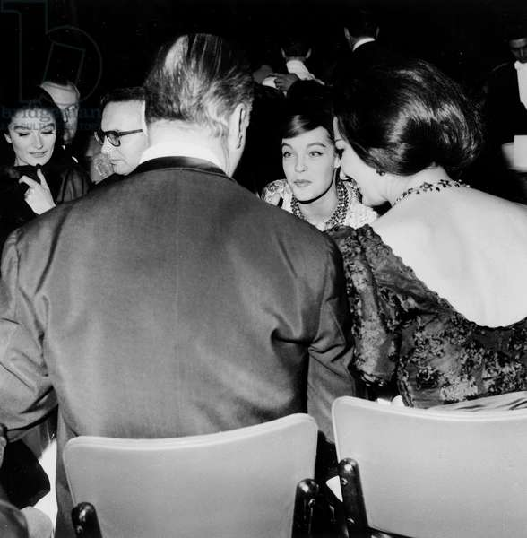 Romy Schneider With Curd Jurgens and his Wife Carol Jungens (Seen Back) Attending Premiere of New Revue at The Lido December 07, 1961 (b/w photo)