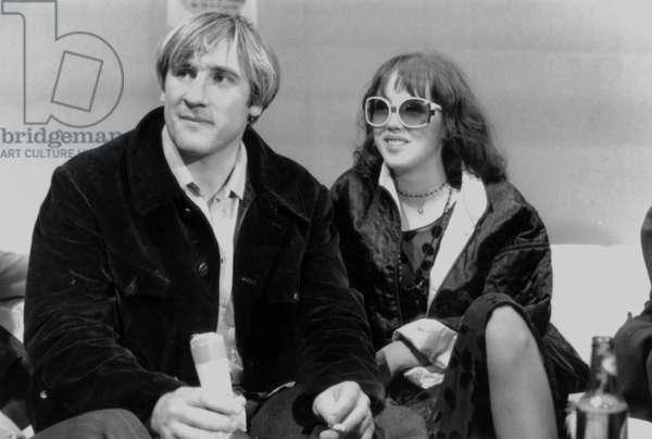 Gerard Depardieu and Isabelle Adjani at The Closing of Paris Cinema Festival on November 22, 1976 (b/w photo)