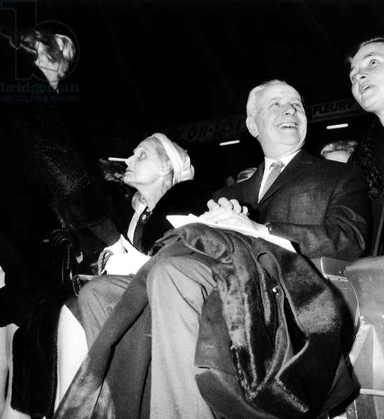 Louis Aragon and Elsa Triolet, at a gala in honour of Pablo Picasso, 1st November 1966 (b/w photo)