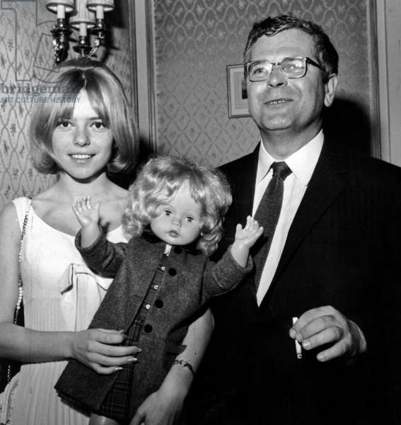 Singer France Gall and her Father Celebrating her Success at European Song Contest here Back in Paris March 25, 1965 (b/w photo)