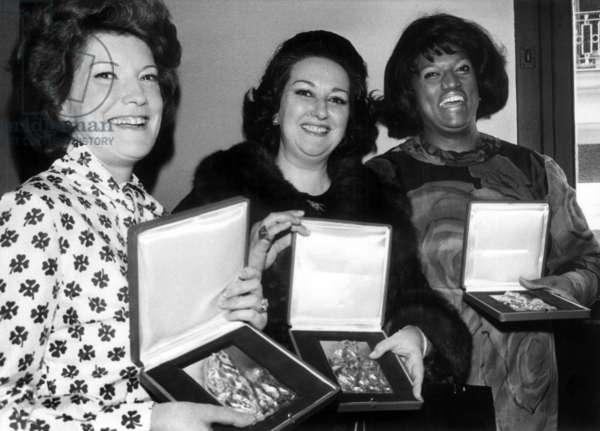 Opera Singers Mady Mesple, Monserrat Caballe and Jessye Norman After Prize Giving, November 21, 1973 (b/w photo)
