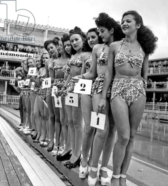 Contest of The Most Beautiful Bather and One of The 1St Public Appearance of Bikini on July 5, 1946 in Paris (b/w photo)