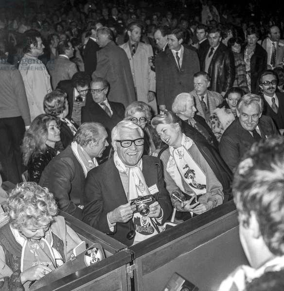 The International Circus Festival of Monte-Carlo, December 11, 1978 : Sean Connery, Cary Grant, Princesse Grace and Prince Rainier III (b/w photo)