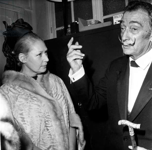 Actress Tilda Thamar and Salvador Dali at Polytechnique (Grande Ecole of Science and Technology France) Where He Gave A Conference in November 1966 (b/w photo)