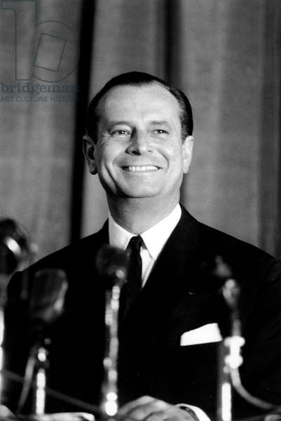 French Politician Jean Lecanuet during Press Conference October 26, 1965 during The First Campaign For Presidential Elections With Universal Suffrage (b/w photo)