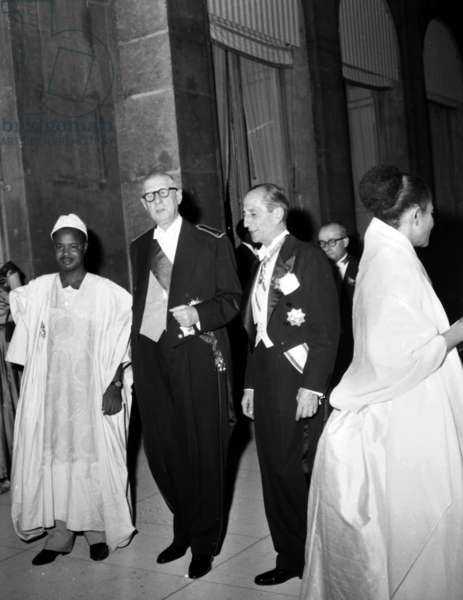 Gala Given at The Elysee Palace in Paris on July 27, 1960 For President of Cameroun, Ahmadou Ahidjo, By French President Charles De Gaulle on July 27, 1960 (b/w photo)