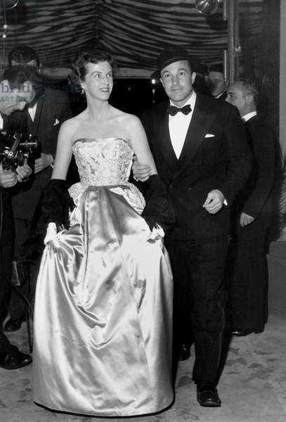 Actor Gene Kelly With his 1St Wife Betsy Blair at Cannes Film Festival April 26, 1952 (b/w photo)
