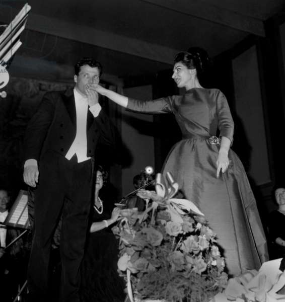 Opera Singer Maria Callas and Conductor Georges Pretre on Stage After Concert in Paris in Benefit For The Malt Knights Order June 6, 1963 (b/w photo)