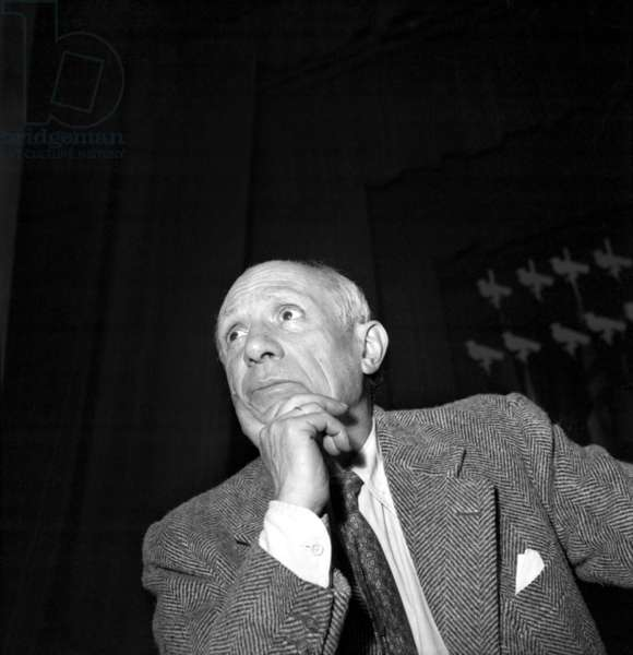 Pablo Picasso at Congress for Peace in Paris, April 20th 1949 (b/w photo)