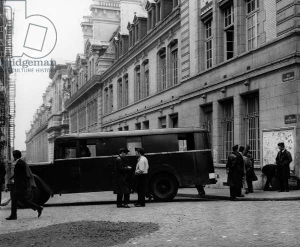 Police Cars Bail Access To The Sorbonne After Evacuation, June 17, 1968 (b/w photo)