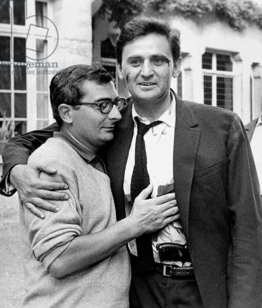 "French Director Claude Chabrol and Actor Roger Hanin on Set of Film ""The Tiger Likes Fresh Blood"" September 1964 (b/w photo)"