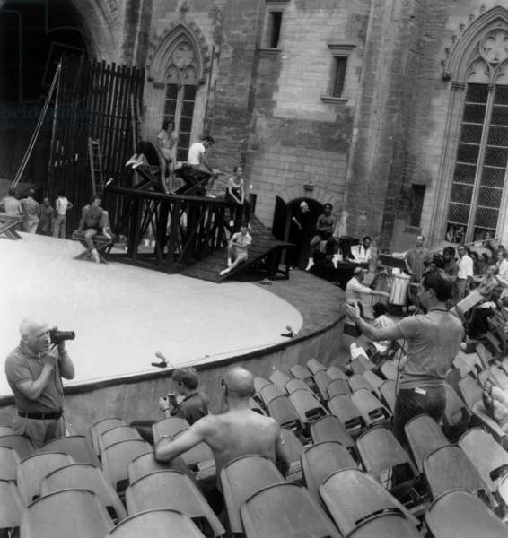 "Maurice Bejart during Rehearsal of Ballet ""Des Quatres Fils Aymon"" at Avignon Festival July 25, 1969 (b/w photo)"