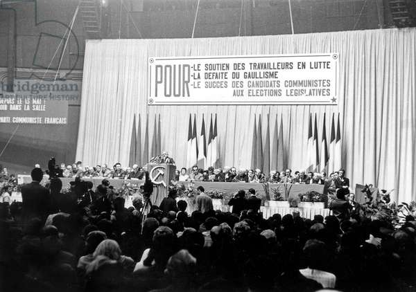 Speech of French Communist Politicians during Campaign For General Elections in France in 1968 (b/w photo)