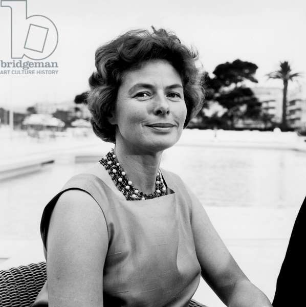 Actress Ingrid Bergman at Cannes Festival on May 17, 1961 (b/w photo)