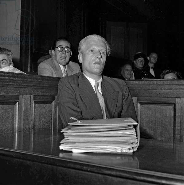 Trial of Otto Abetz, Paris, July 12, 1949 : Otto Abetz (German ambassador in Paris during ww2) (b/w photo)