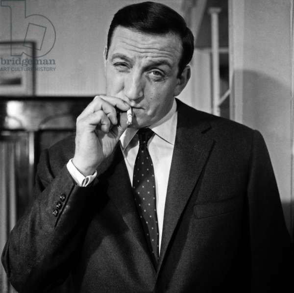 Lino Ventura on the set of 'Les Tontons Flingueurs' in 1963 (b/w photo)
