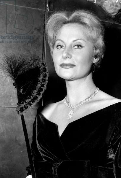 """French Actress Michele Morgan at Premiere of Film """"The Mirror Has Two Faces"""", October 5, 1958, Paris (b/w photo)"""