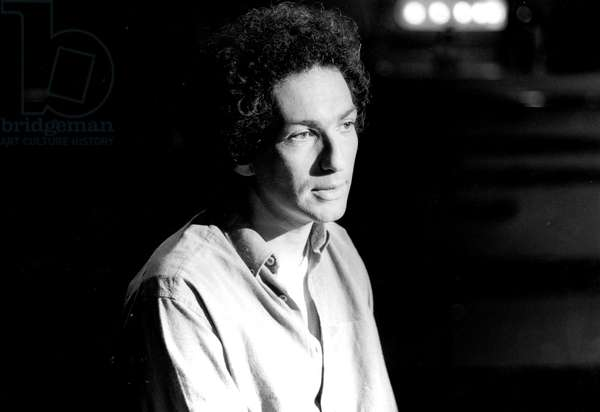 French Singer Michel Berger during French TV Programme October 21, 1983 (b/w photo)