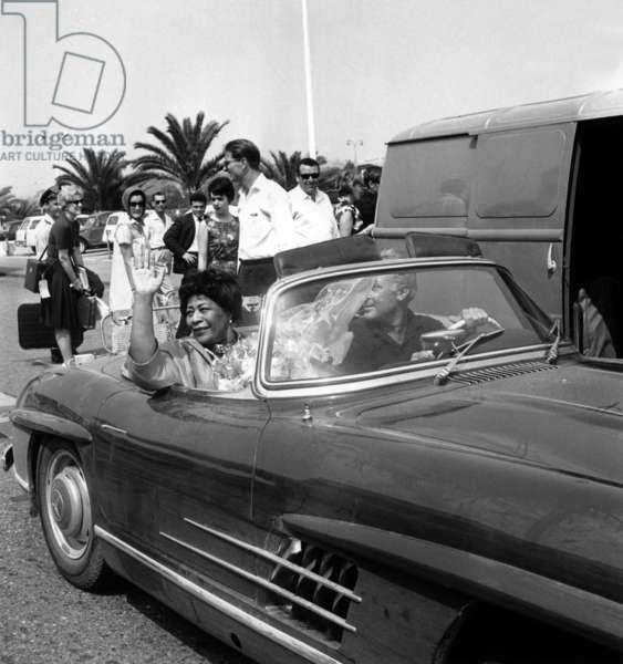 Ella Fitzgerald Leaving Nice Cote D'Azur Airport To Go To Jazz Festival in Antibes Juan Les Pins July 28, 1964 (b/w photo)