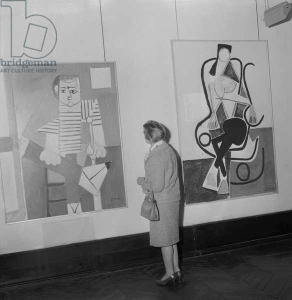 Exhibition of Pablo Picasso's artwork in Maison de la Pensee Francaise in Paris, on April 26, 1961