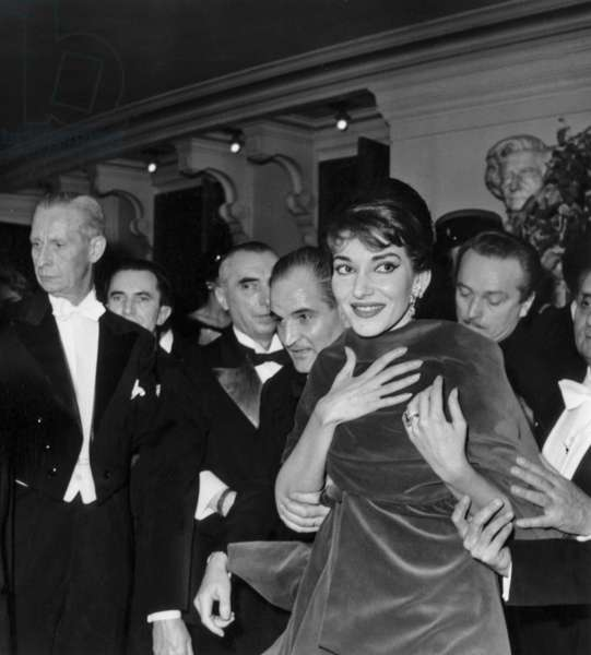 Opera Singer Maria Callas (1923-1977) at The Dinner After The Concert at The Opera Paris December 20, 1958 (b/w photo)