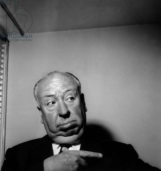 Director Alfred Hitchcock at Orly Airport in Paris, May 26, 1960 (b/w photo)