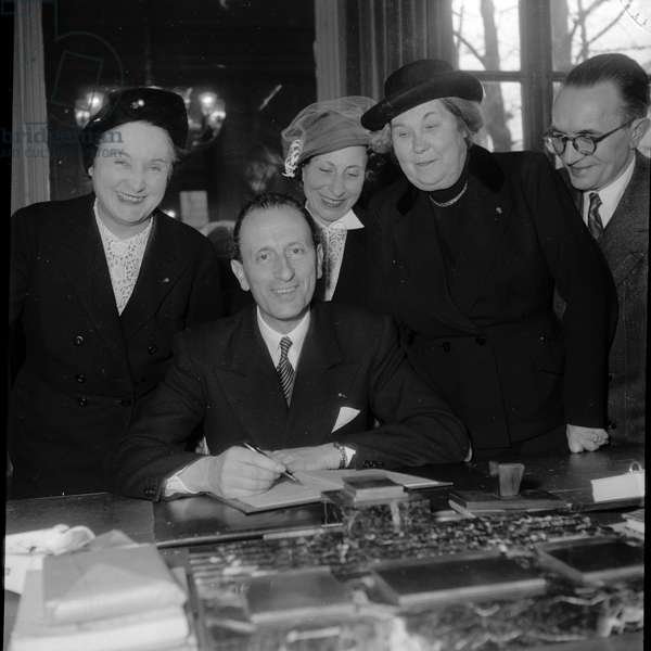 Paul Vialard and the office members of the Societe des Gens de Lettres, (Photography) 1952