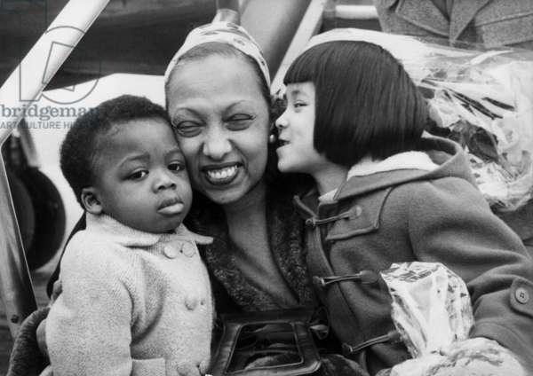 Josephine Baker With Two of her Children at Maracaibo Aerodrome (Venezuela) April 18, 1959 (b/w photo)